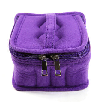 HengSong Portable 16 Bottles Essential Oil Bag Carrying Case DoubleZipper Travel Makeup Cosmetic Bag Purple
