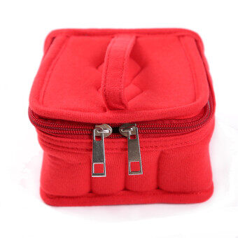 HengSong Portable 16 Bottles Essential Oil Bag Carrying Case DoubleZipper Travel Makeup Cosmetic Bag Red