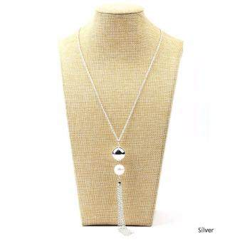 Hequ New Fashion Charm Imitation Pearl Pendant Beads LeatherTassels Big Pendant Long Chain Sweater Necklace