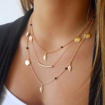 Hequ newest gold silver chain beads and leaves pendant necklacemulti layer necklaces of fashion jewelry for Gold