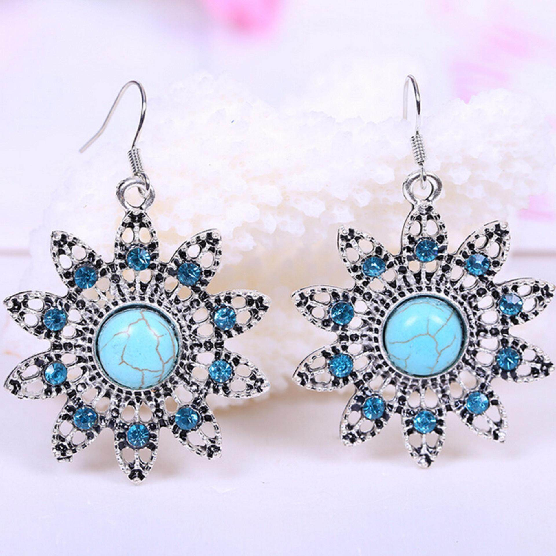 Hequ Online Shopping India Vintage Turquoise Drop Earrings Bohemia Peacock Hollow Rhinestone Brincos - intl