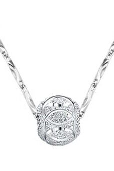Hequ Retro Lucky 925 Sterling Silver Plated 8mm Beads WomanNecklace Pendant Without Chain