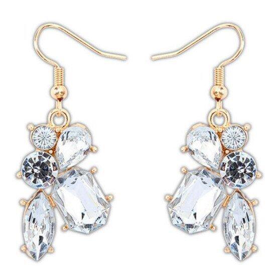 Sanwood Womens Irregular Crystal Drops Hook Earrings White