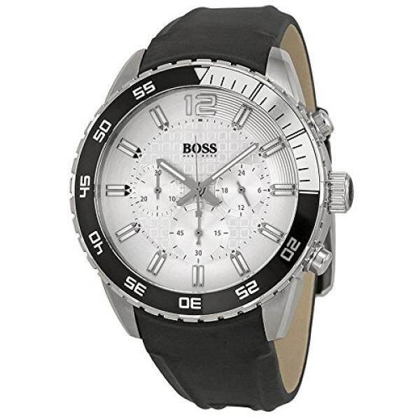 Hugo Boss Dalam Biru Perak Tombol Penyetel Hitam Tali Pria Jam Tangan 1512805-Internasional