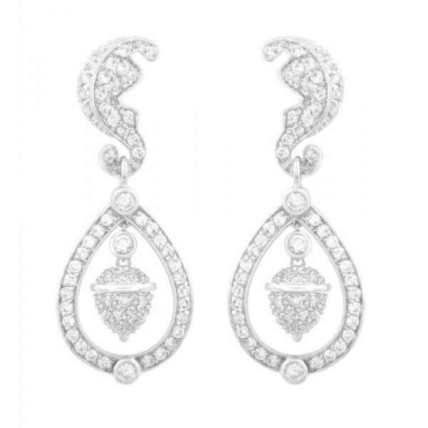 Jankuo Perhiasan Rhodium Disepuh Keluarga Kerajaan Kate Middleton Terinspirasi Acorn Menggantung CZ Pave Anting-Anting-Internasional