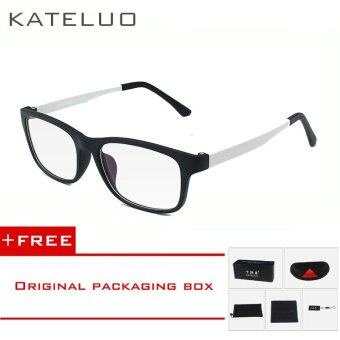 KATELUO TR90 Anti Computer Blue Laser Fatigue Radiation-resistant Eyeglasses Goggles Glasses Frame Oculos de grau 9219 (white) [ free gift ]