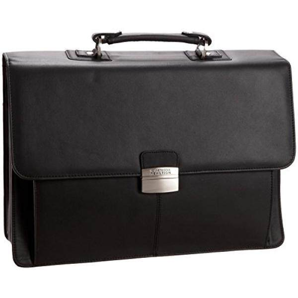 Kenneth Cole Reaction Flap-py Gil-more Genuine Leather Double Gusset Portfolio - Black - intl