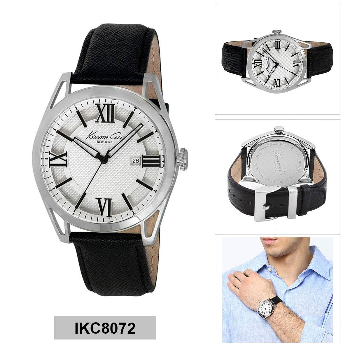 Kenneth Cole Watch New York Black Stainless Steel Case Leather Strap Emporio Armani Ar1828 Jam Tangan Pria Silver Mens Ikc8072 Intl