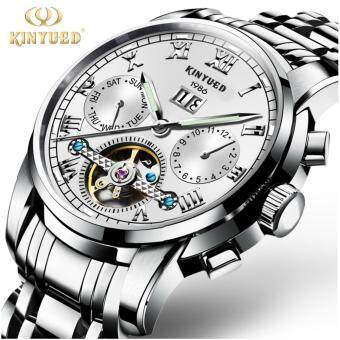 KINYUED Top Brand Mechanical Watch Luxury Men Business Watchs Stainless Steel Band 3ATM Waterproof Calendar Function Mens Famous Male Watches Clock For Men Wrist Watch