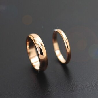 Korea simple and elegant titanium steel rose gold glossy ring inthe index finger tail ring men and women couple on the ring jewelryaccessories