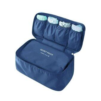 Korea Stylish Travel Bra Underwear Bag Pouch and Baby PampersStorage (Navy Blue)