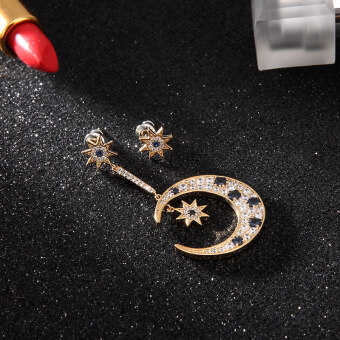 Korean-style temperament sweet fashion plated 18k rose gold earrings female stars moon earrings titanium steel tide ear jewelry