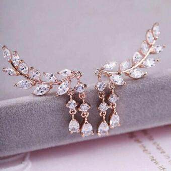 Kuhong High Quality Fashion Women Gold Silver Plated Jewelry Crystal Leaves Tassel Ear Stud Earrings Gold