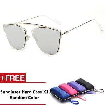 Lagos Brand Unisex Retro Aluminum Sunglasses Polarized Lens VintageEyewear Accessories Sun Glasses For Men/Women (Silver+Silver)