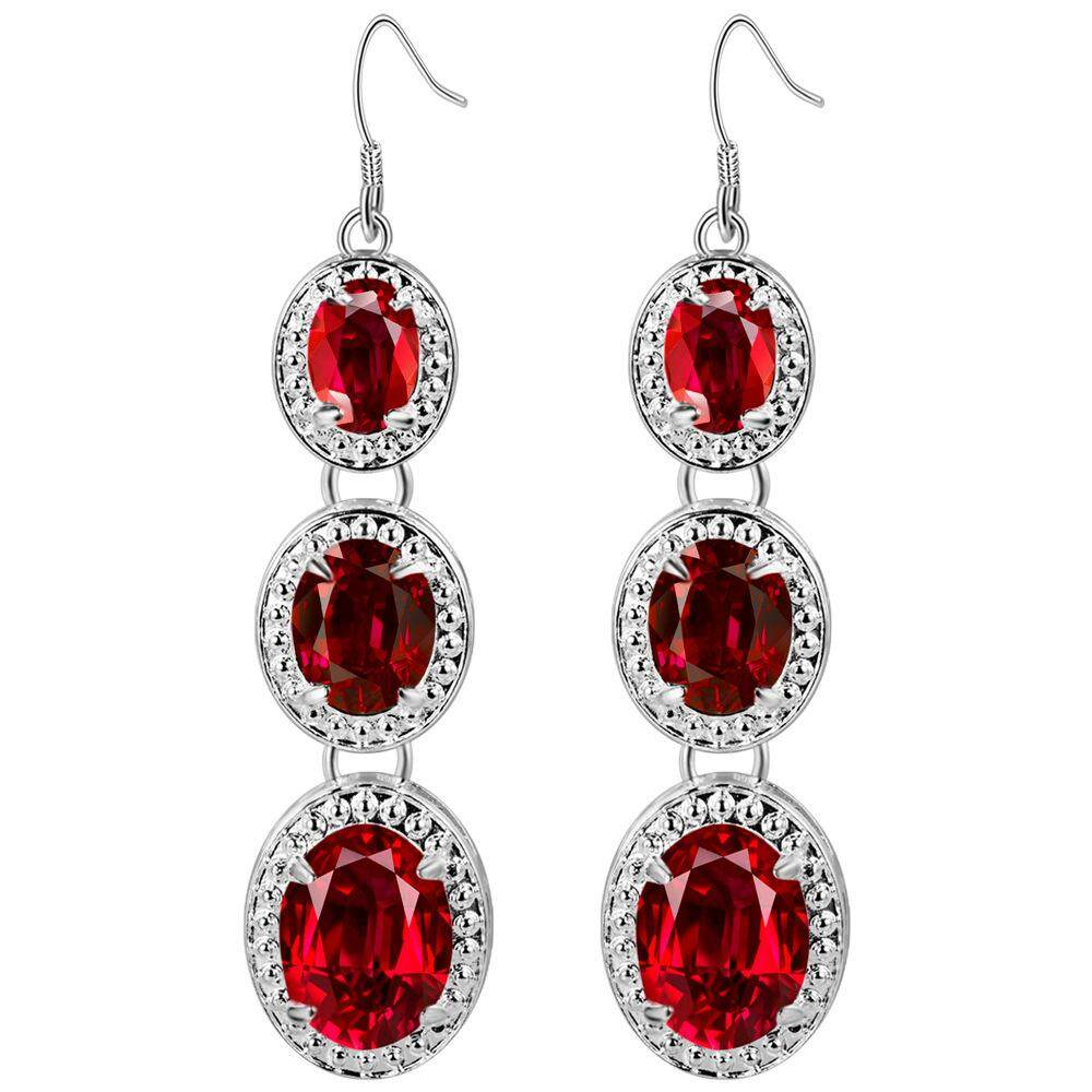 【BDawn-Fashion】Lazada Fashion Jewelry Zircon Crystal Earrings Thick Plated Silver Earrings