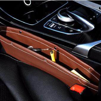 Leather Car Seat Gap Filler, Car Seat Side Console Slit Caddy Catcher Storage Box Pad Pocket Premium -Brown