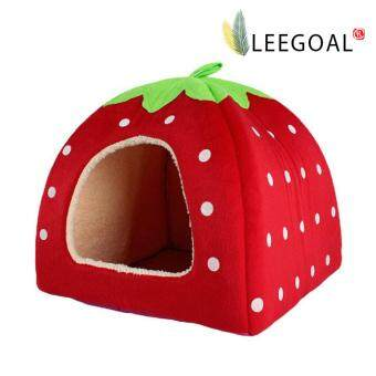 leegoal Strawberry Pet Cat Dog House Bed With Warm Plush Pad(Red,XL)