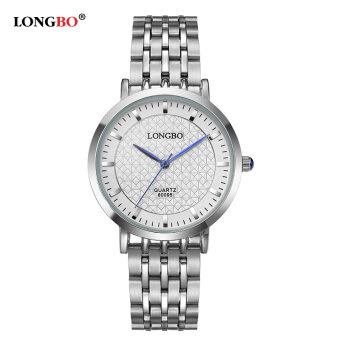 LONGBO Fashion Men Silver Glamour Steel Elegant Waterproof QuartzWrist Watch 80095
