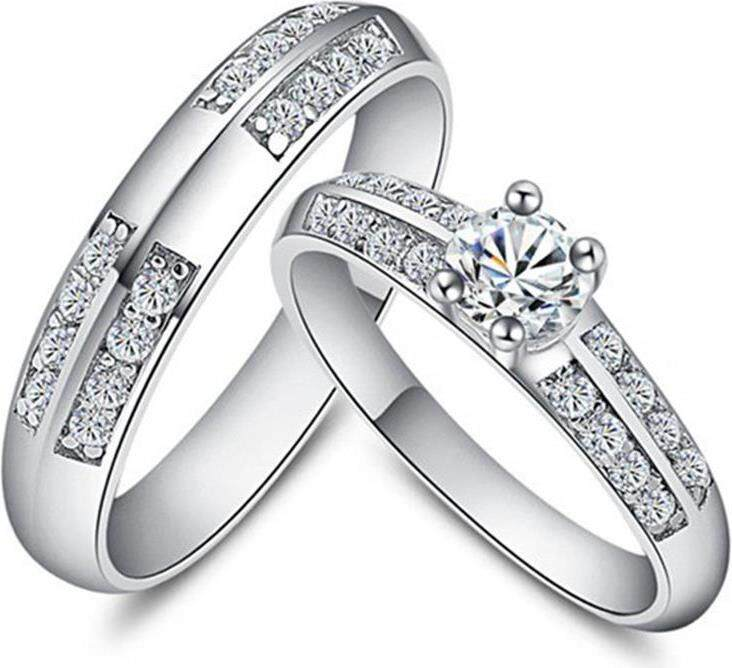 【XYdirect-Fashion】Lovers Ring Copper Plating Platinum Jewelry Lovers Ring Diamond Jewelry Boutique