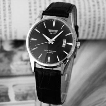 Luxury Black Leather Strap Calendar Quartz Mens Date Wrist WatchBlack