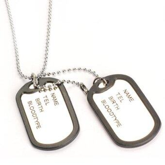 Man Dual Plates Pendant Necklace Sweater Chain Military Army Style