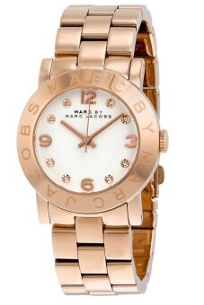 MARC BY MARC JACOBS MBM3077 White Dial Rose Gold-Tone Stainless Steel Ladies Watch (White & Rose Gold)