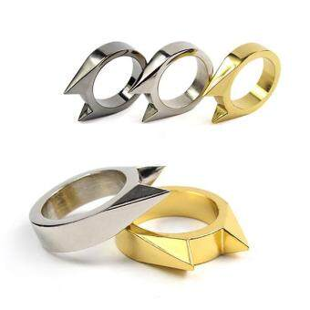 Men Women Stainless Steel Self-defense Product Single Clasp RingWeapons Ring Cat Ears Shape Survival Ring Tool Po Gold