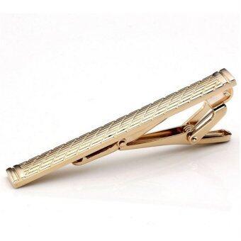 Pria biasa klasik Keemasan standar Stainless Steel Bar penjepit dasi jepitan pin Keemasan