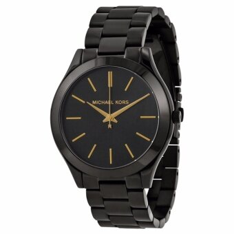 Michael Kors Women's Slim Runway Black Ion-tone Watch MK3221
