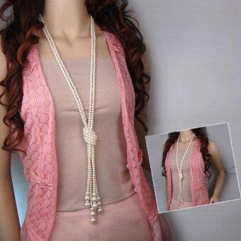 Moonar Fashion Multi-layers Ultra long Artificial Pearl BeadsNecklace Sweater Chain Knotting Necklace