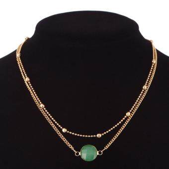 Natural Crystal Beads Choker Collar Necklace Double Layer OpalStone Pendant Chain Gold Plated Charming Jewelry for WomenGift(green)
