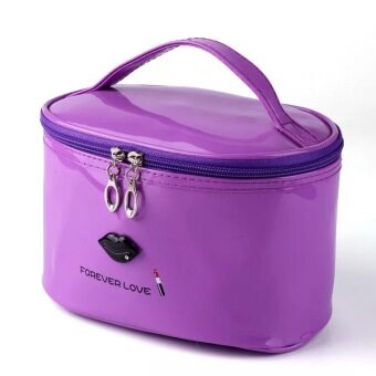 New style Korea waterproof cosmetic bag cylinder patent leatherportable cosmetic bag large women cosmetic storage bag