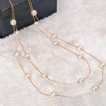 Okdeals Long Pearl Necklace Pendant Sweater Chain Jewelry Gold