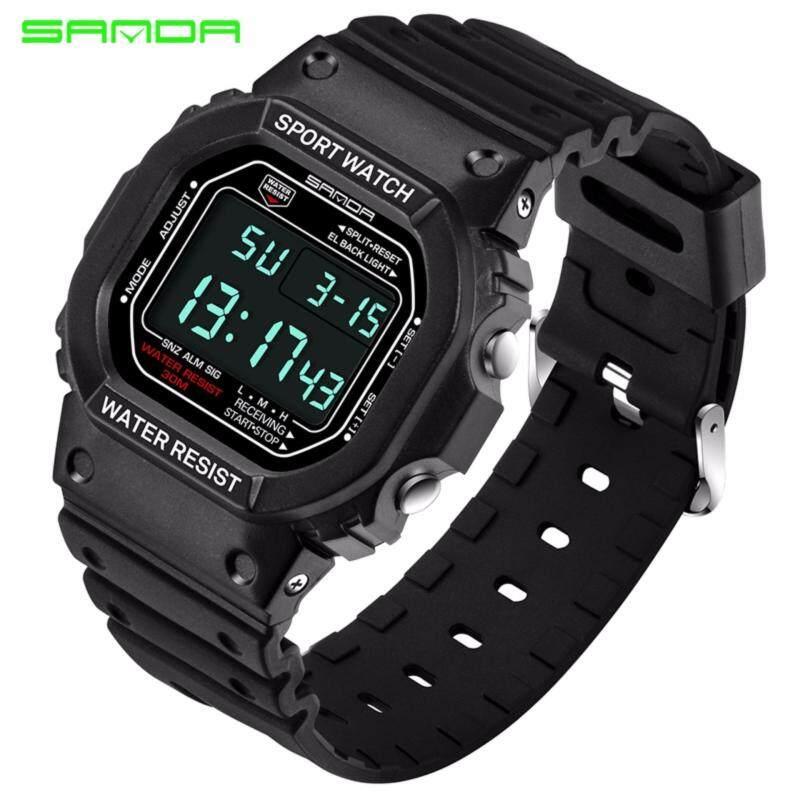 Original SANDA 329 Classic C Style Waterproof Outdoor Sports Men Shockproof Digital Watch (White Black) Malaysia