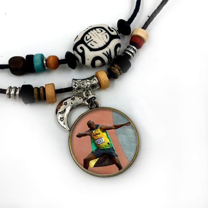 Liontin Kalung Terbang Bolt HD untuk Pria Wanita Perhiasan Modis Berlapis Perak Berlapis Perak Bulan Bermanik-manik Facebook Katun Tali Kunci Keren perhiasan-Internasional