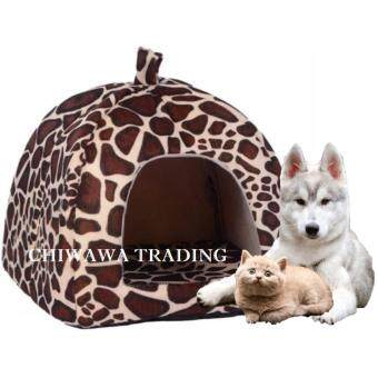 Pet House Strawberry Basket Soft Pet Bed House Dog Cat Supplies (Leopard)