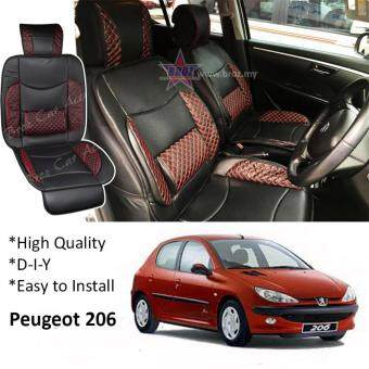 Peugeot 206 / 208 Red Lining Design Universal Car PU Seat Mat withLumbar Support Per Piece