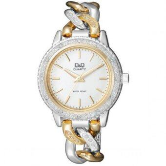 Q&Q F535-401Y By Citizen Gold Silver Stainless Steel Analog Ladies Dress Watch