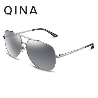 QINA Polarized Women Silver Sunglasses Pilot UV 400 Protection Grey Lenses QN3521