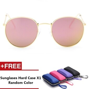 Reina Brand Unisex Retro Aluminum Sunglasses Polarized Lens VintageEyewear Accessories Sun Glasses For Men/Women (Gold+Rose Pink)