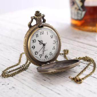 Retro White Dial Round Pendant Mens Quartz Pocket Watch Father DADGift