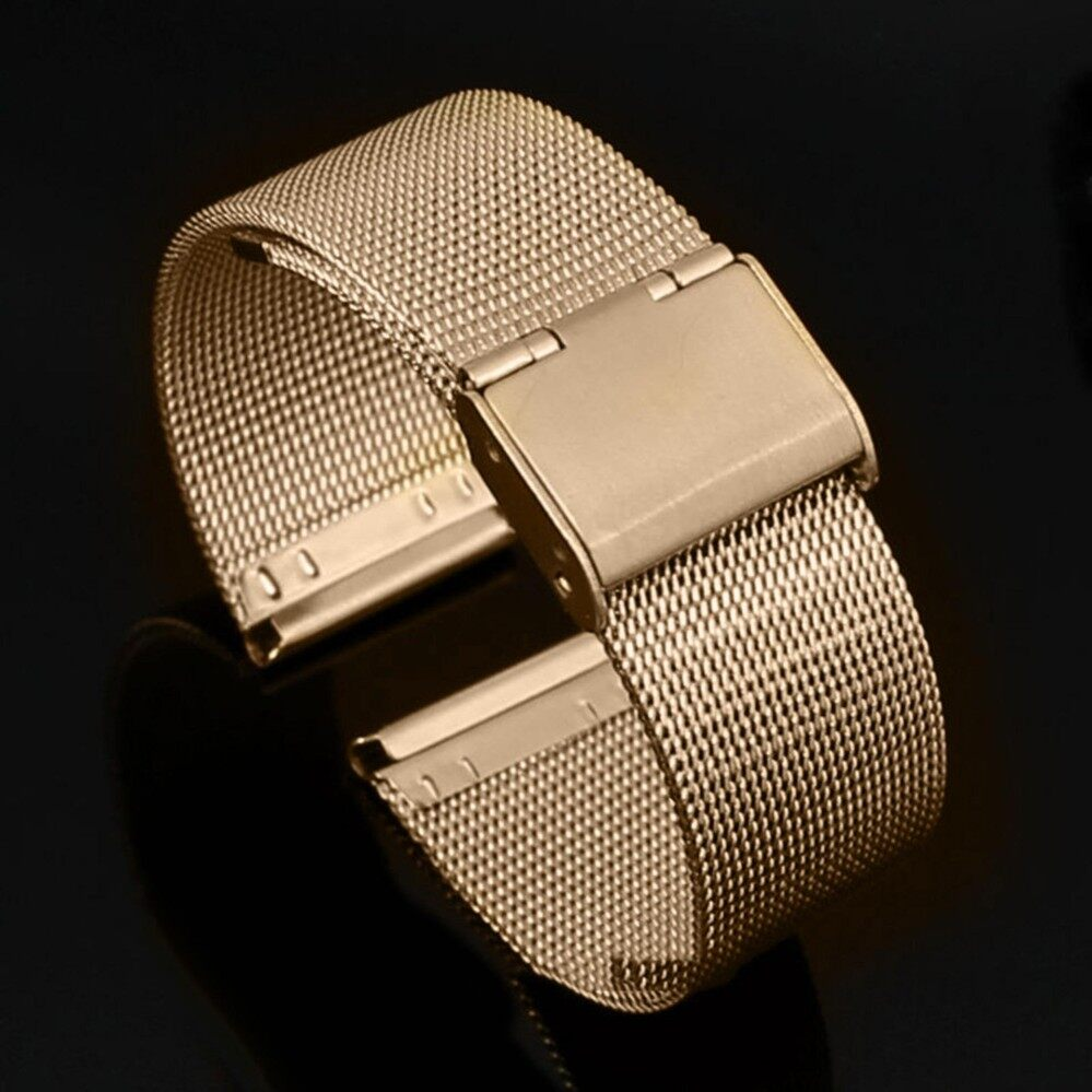 Sanwood® Fashion 18mm - 24mm Stainless Steel Watch 0.4mm Wire Mesh Waist Watch Strap Band 18 mm (Gold) - intl