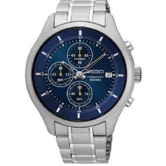Seiko Men's Chronograph Stainless Steel Strap Watch SKS537P1(Silver & Blue)