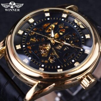 Skeleton Tourbillon Mechanical Watch Automatic Men Classic Rose Gold Leather Mechanical Wrist Watches Reloj Hombre