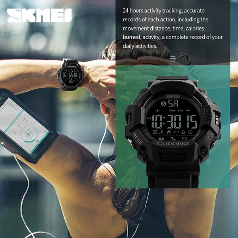 SKMEI Brand Sport Smart Waterproof Outdoor Calories Digital Mens Watches MultiFunction Pedometer Bluetooth Clock Wristwatch 1249 Malaysia