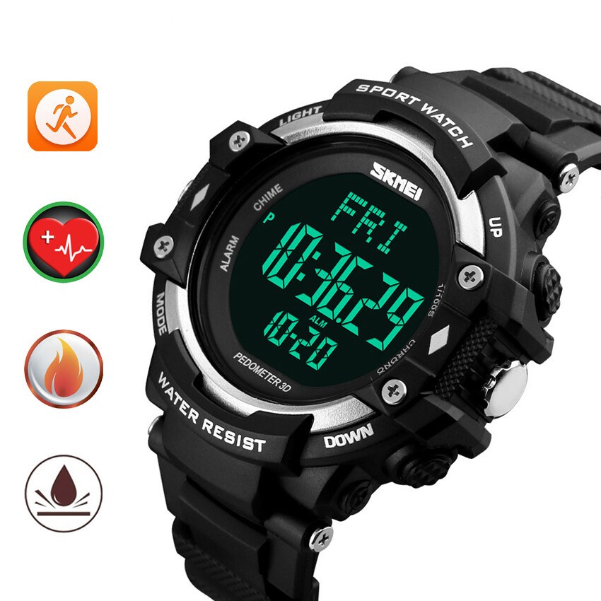 skmei heart rate monitor calories counter watch waterproof men skmei heart rate monitor calories counter watch waterproof men women pedometer digital sport fitness watches black silver lazada