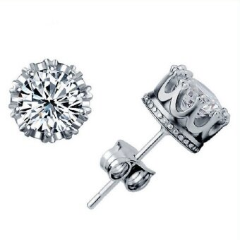 Sliver Plated Jewelry 8MM Round Cubic Zirconia Silver Stud EarringSilver