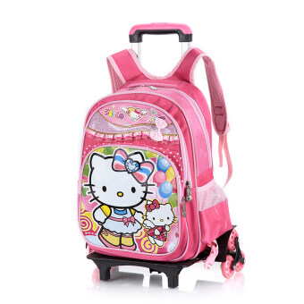 Snow young student's three girls backpack trolley school bag