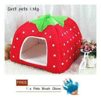 Soft Cotton Cat Bed Pet House Supplies Red (S)