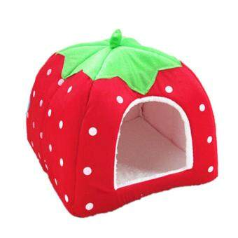 Soft Strawberry Pet Dog Cat House Kennel Doggy Fashion CushionBasket(Red)-S